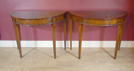Pair English Regency Inlay Console Tables Table