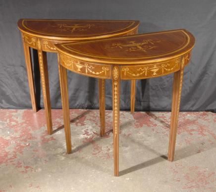 Pr English Regency Sheraton Inlay Console Tables Antique Dining Room