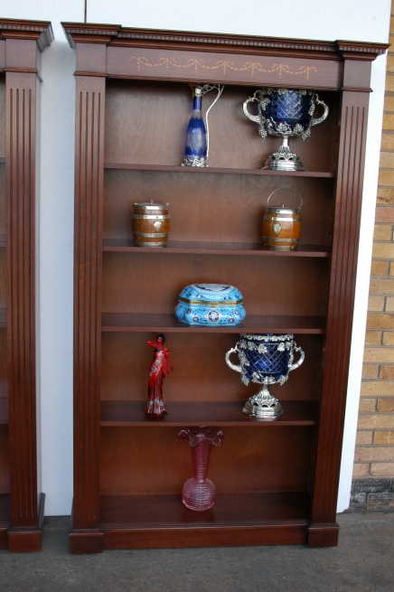 Classic Regency Sheraton Inlay Open Bookcases Book Case
