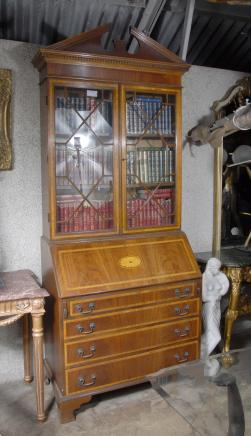English Sheraton Bureau Bookcase Gothic Desk Book