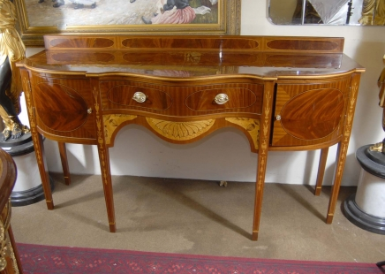 English Sheraton Inlay Mahogany Sideboard Server