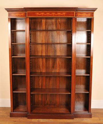 English Sheraton Open Breakfront Bookcase