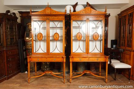 Pair Regency Satinwood Display Cabinets Bookcases Sheraton Furniture