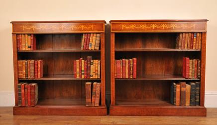 Pair Sheraton Walnut Low Open Front Bookcases