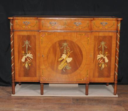 Regency Sheraton Painted Sideboard Buffet Server Cabinet Satinwood