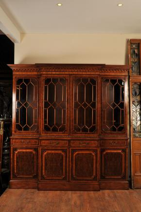 Victorian Walnut Breakfront Bookcase Book Case
