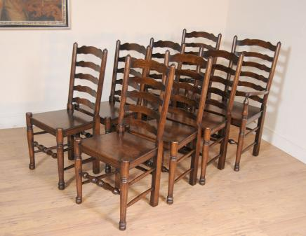 Superior Set 8 Oak Ladderback Chairs Kitchen Dining Chair Farmhouse Furniture