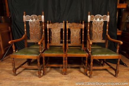 Set 8 Antique William and Mary Carved Dining Chairs Oak Kitchen Chair - Oak Kitchen Chair Antique Dining Room