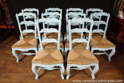 Set 8 Painted French Ladderback Dining Chairs Kitchen Oak Chair