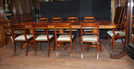 Walnut Regency Dining Set Pedestal Table Matching 12 Chairs