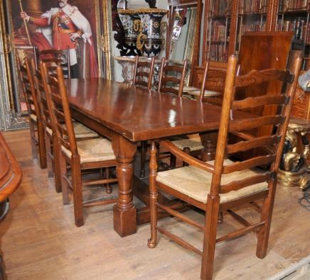 Farmhouse Refectory Table Ladderback Chair Set Dining