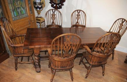 Farmhouse Refectory Table Set Windsor Arm Chairs Kitchen