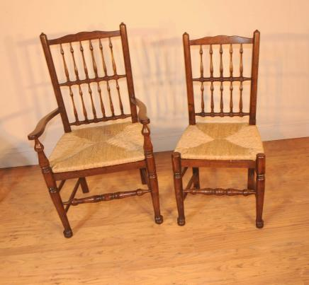 Oak Kitchen Diner Chair Set Refectory Table and Spindleback Chairs