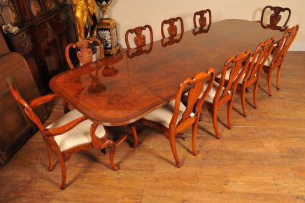 Regency Walnut Dining Table Set Queen Anne Chairs Tables Suite Furniture