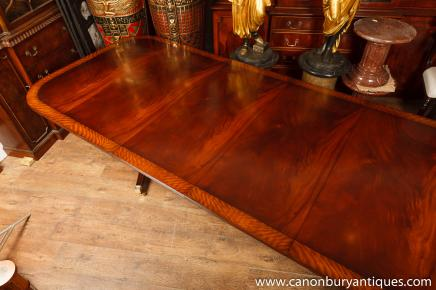 Two Pedestal Regency Dining Table Mahogany With Leaves
