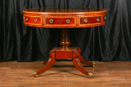 Regency Mahogany Inlay Drum Centre Table Dining Tables