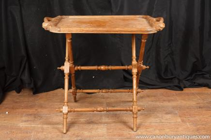 Antique Arts and Craft Carved Wood Tray on Stand Side Table