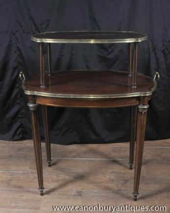 French Empire Antique Etagere Table Two Tiered Side Tables 1890