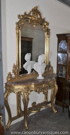 French Empire Gilt Console Table and Mirror Set Demi Lune Tables