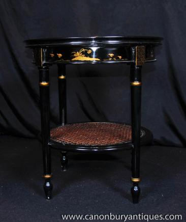 French Lacquer Side Table Chinoiserie Occasional Tables