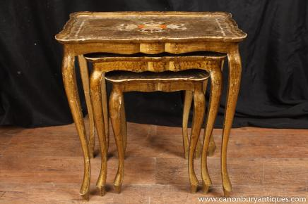 French Louis XV Nest Gilt Tables Side Table Furniture