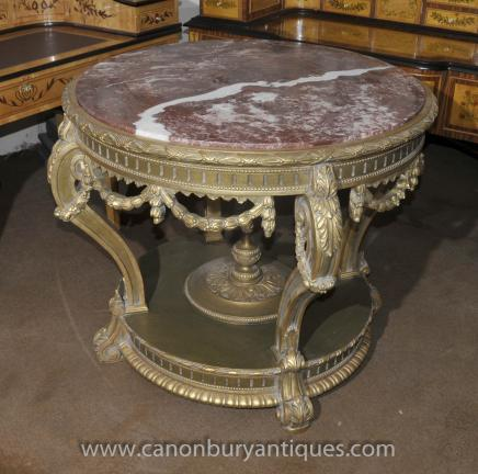 French Louis XVI Gilt Centre Table Round Tables