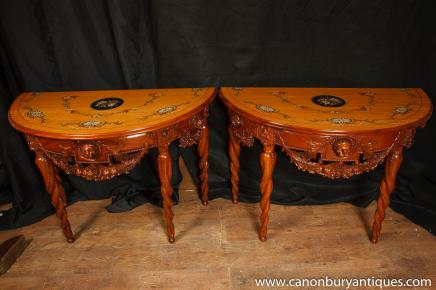 Pair Chippendale Demi Lune Console Tables Carved Base