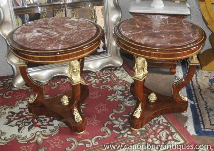 Pair Empire Side Tables Ormolu Pharo Marble Topped Table