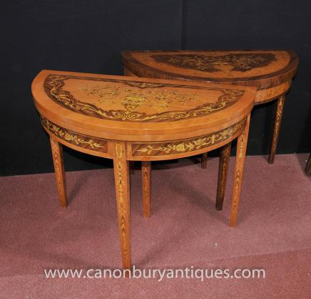 Pair French Empire Demi Lune Console Tables Contra Inlay Round