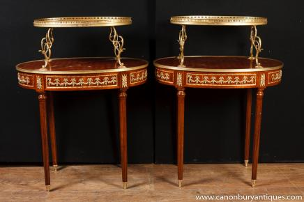 Pair French Empire Etagere Side Tables Tiered Table
