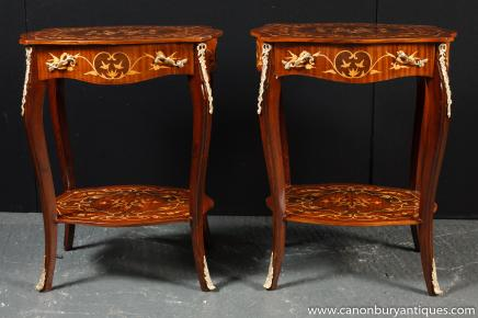 Pair French Louis XIV Cocktail Tables Side Table Marquetry Inlay