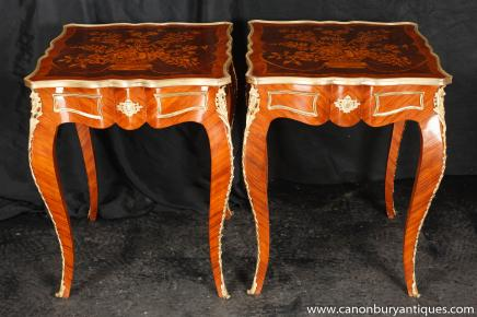 Pair Louis XV Cocktail Tables Side Table Inlay French Furniture