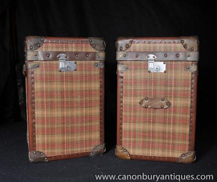 Pair Luggage Box Tartan Trunks Coffee Side Tables