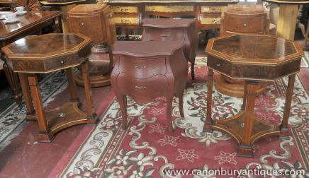 Pair Regency Side Tables Octagonal Table Walnut