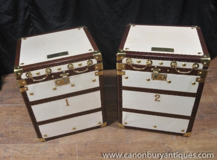 Pair White Leather English Luggage Boxes Trunks Cases Side Tables