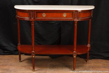 Regency Console Table Mahogany Marble Top Sofa Hall Tables