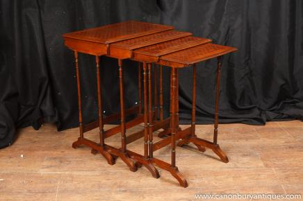 Regency Mahogany Nest Tables Faux Bamboo Side Table Parquetry