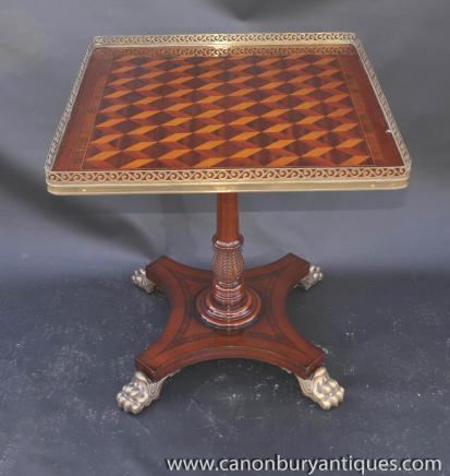 Single English Regency Parquetry Occasional Table Side Tables
