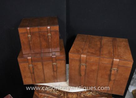 Trio Leather Campaign Luggage Trunks Boxes Storage Side Tables