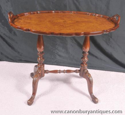 Victorian Regency Tray Side Table Stand Walnut Cocktail Tables