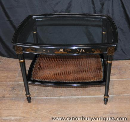 French Chinoiserie Black Lacquer Coffee Table Cocktail Tables