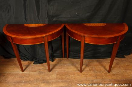 Pair Regency Mahogany Console Tables Demi Lune Table