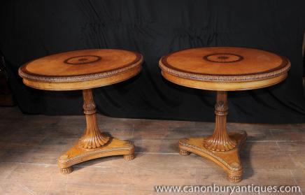Pair Regency Satinwood Cocktail Side Tables Occasional Table