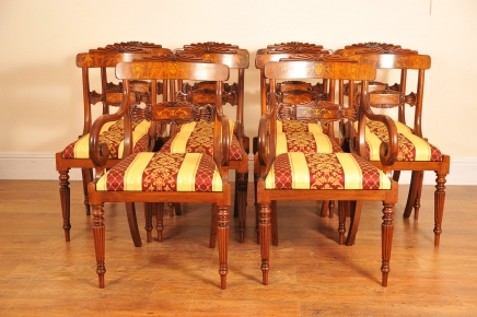 10 English Regency Walnut Inlay Dining Chairs