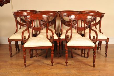 8 Mahogany Regency Dining Chairs Arm Chair