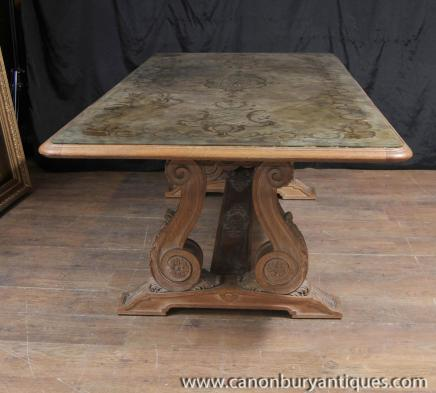 Antique French Art Nouveau Eglomise Dining Table Glass Topped Inlay