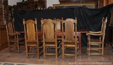 Farmhouse Dining Set Oak Refectory Table Willam and Mary Chairs