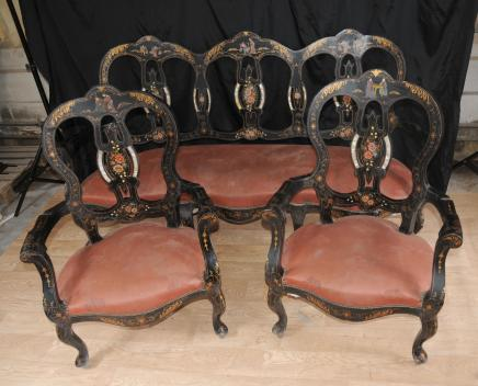 French Anitque Black Lacquer Settee Chair Set Inlay Chinoiserie
