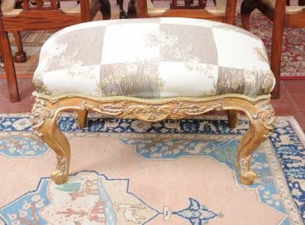 French Louis XV Stool Gilt Seat Chair