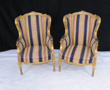 French Napolean II Arm Chair Gilt Fauteils Chairs